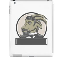 Goat Beard Head Circle Woodcut iPad Case/Skin