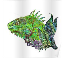Iguana Cool with changeable background Poster