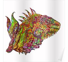 Iguana Hot with changeable background Poster