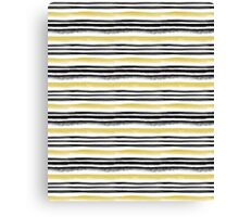 Black and gold watercolor stripes Canvas Print