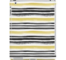 Black and gold watercolor stripes iPad Case/Skin