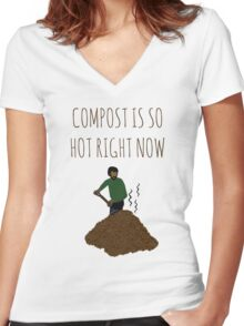 Compost Is So Hot Right Now Women's Fitted V-Neck T-Shirt