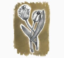 Tulips in charcoal (3 of 3) Kids Tee