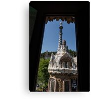 Fanciful Trencadis Tilework - Antoni Gaudi's Entrance Pavilion at Park Guell Canvas Print