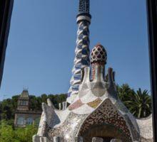 Fanciful Trencadis Tilework - Antoni Gaudi's Entrance Pavilion at Park Guell Sticker