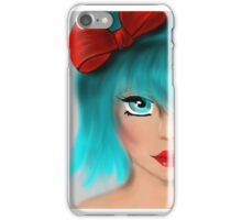 Blue Hair - Red Bow iPhone Case/Skin