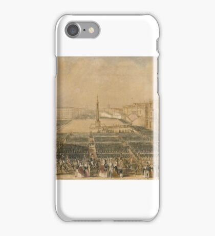 Russian School 19TH CENTURY REVIEW OF THE TROOPS IN PALACE SQUARE, ST PETERSBURG iPhone Case/Skin