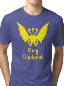 King Ghidorah Pixel Tri-blend T-Shirt