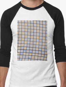 Wavy Rectangles Orange Blue Blue Orange White Black Men's Baseball ¾ T-Shirt