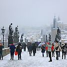 Snowing on Charles bridge  - Prague by Hercules Milas