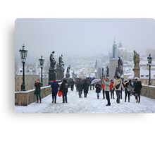 Snowing on Charles bridge  - Prague Canvas Print