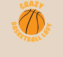 Crazy basketball lady (circle) Womens Fitted T-Shirt