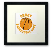 Crazy basketball lady (circle) Framed Print