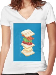 Anatomy of a Club Sandwich Women's Fitted V-Neck T-Shirt