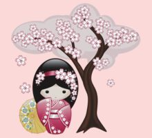 Japanese Spring Kokeshi Doll Kids Tee