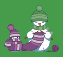 Knitting Snowman One Piece - Short Sleeve