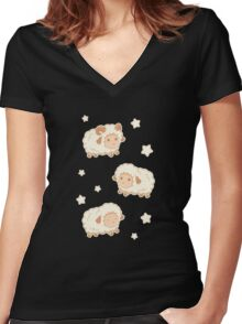Cute Little Sheep on Tan Brown Women's Fitted V-Neck T-Shirt