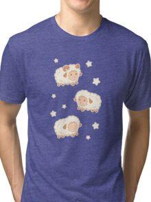 Cute Little Sheep on Tan Brown Tri-blend T-Shirt