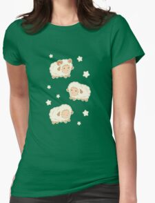 Cute Little Sheep on Tan Brown Womens Fitted T-Shirt