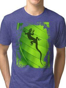 Lizard Gecko Shape on Green Leaf Tri-blend T-Shirt