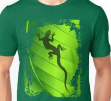 Lizard Gecko Shape on Green Leaf Unisex T-Shirt