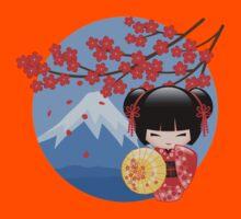 Japanese Red Sakura Kokeshi Doll Kids Tee
