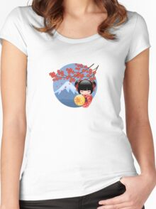 Japanese Red Sakura Kokeshi Doll Women's Fitted Scoop T-Shirt
