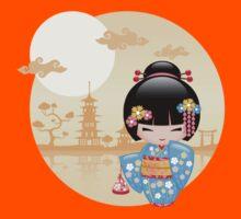Japanese Maiko Kokeshi Doll Kids Tee