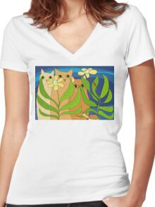 Three Cats, Two Flowers, One Snail and A Ladybug Women's Fitted V-Neck T-Shirt