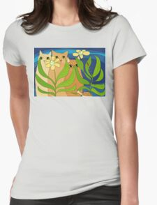 Three Cats, Two Flowers, One Snail and A Ladybug Womens Fitted T-Shirt