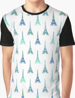 Blue Aqua Eiffel Tower Graphic T-Shirt