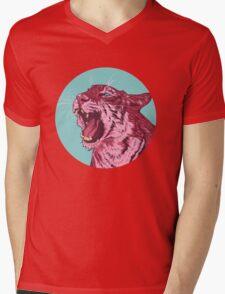 Magenta tiger Mens V-Neck T-Shirt