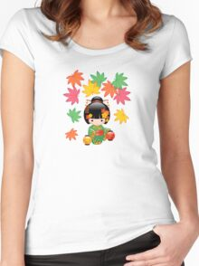 Japanese Fall Kokeshi Doll Women's Fitted Scoop T-Shirt