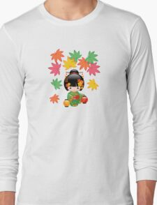 Japanese Fall Kokeshi Doll Long Sleeve T-Shirt