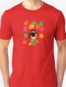 Japanese Fall Kokeshi Doll Unisex T-Shirt