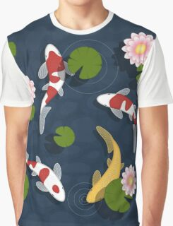 Japanese Koi Fish Pond Graphic T-Shirt