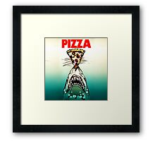 Pizza Shark Jaws Parody Framed Print