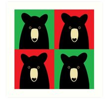 BLACK BEAR ON RED & GREEN Art Print