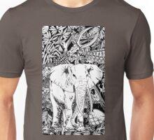 White Elephant Indian Ink Tribal Art Unisex T-Shirt