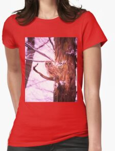 Barred Owl Looking At Me Womens Fitted T-Shirt