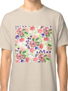 Watercolor garden flowers Classic T-Shirt