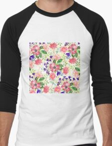 Watercolor garden flowers Men's Baseball ¾ T-Shirt