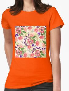 Watercolor garden flowers Womens Fitted T-Shirt