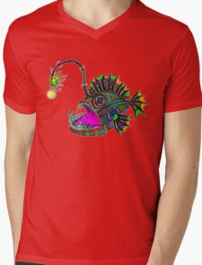 Electric Angler Fish Mens V-Neck T-Shirt