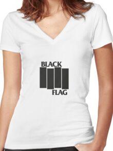 BLACK FLAG on WHITE Women's Fitted V-Neck T-Shirt