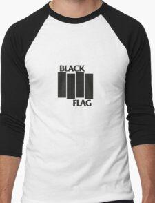 BLACK FLAG on WHITE Men's Baseball ¾ T-Shirt