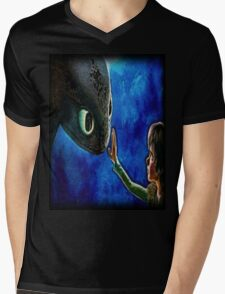 Hiccup And Toothless The Black Night Fury Dragon Mens V-Neck T-Shirt