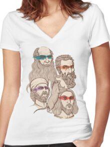 Leonardo, Michelangelo, Donatello, and Raphael... Oh and Splinter Women's Fitted V-Neck T-Shirt