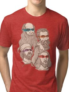 Leonardo, Michelangelo, Donatello, and Raphael... Oh and Splinter Tri-blend T-Shirt