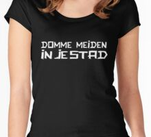 DOMME MEIDEN IN JE STAD (WHITE) Women's Fitted Scoop T-Shirt